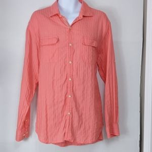 Tommy Bahamas -Coral long sleeve  button up top XL